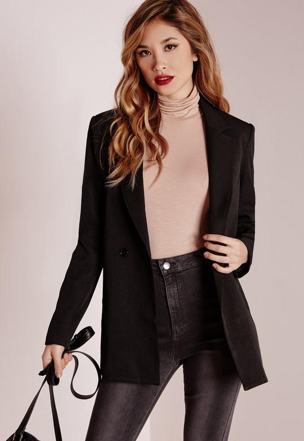 premium woven blazer black