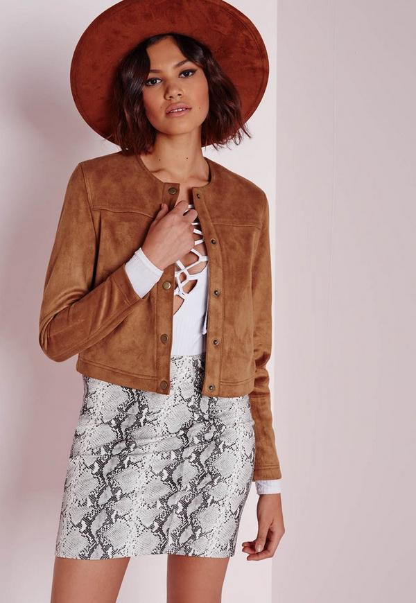 Collarless Suede Jacket Tan