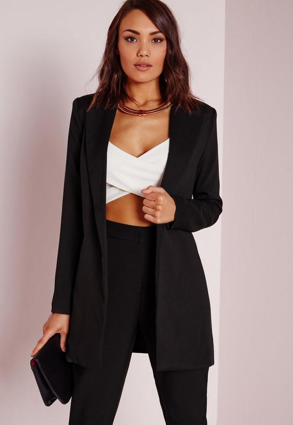 blazer long noir missguided. Black Bedroom Furniture Sets. Home Design Ideas