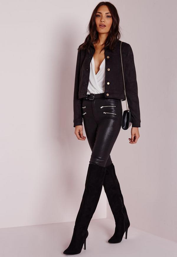 veste en faux daim noir avec boutons dor s missguided. Black Bedroom Furniture Sets. Home Design Ideas