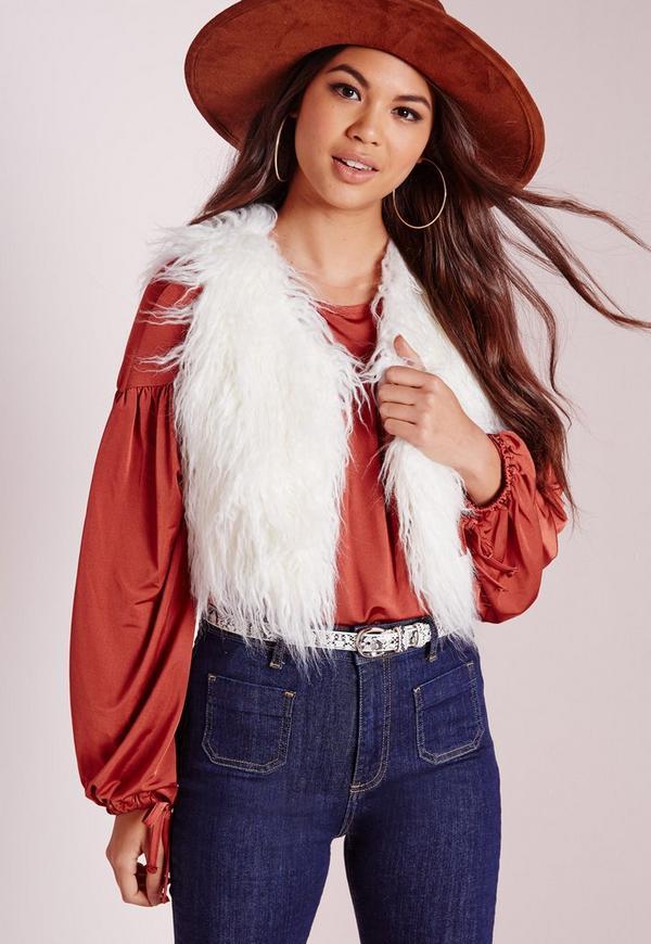 Mongolian Short Faux Fur Gilet White