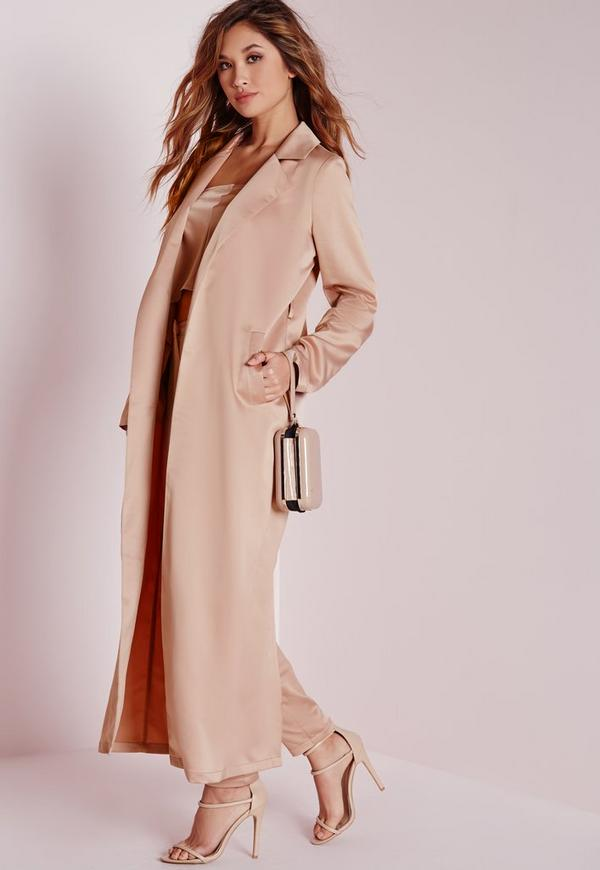 Satin Belted Maxi Duster Coat Rose Pink