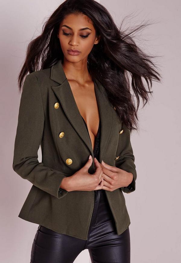 Military Style Blazer Khaki