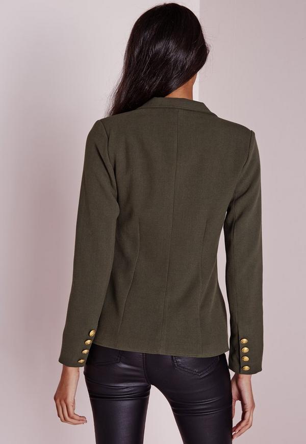 blazer vert kaki style militaire missguided. Black Bedroom Furniture Sets. Home Design Ideas