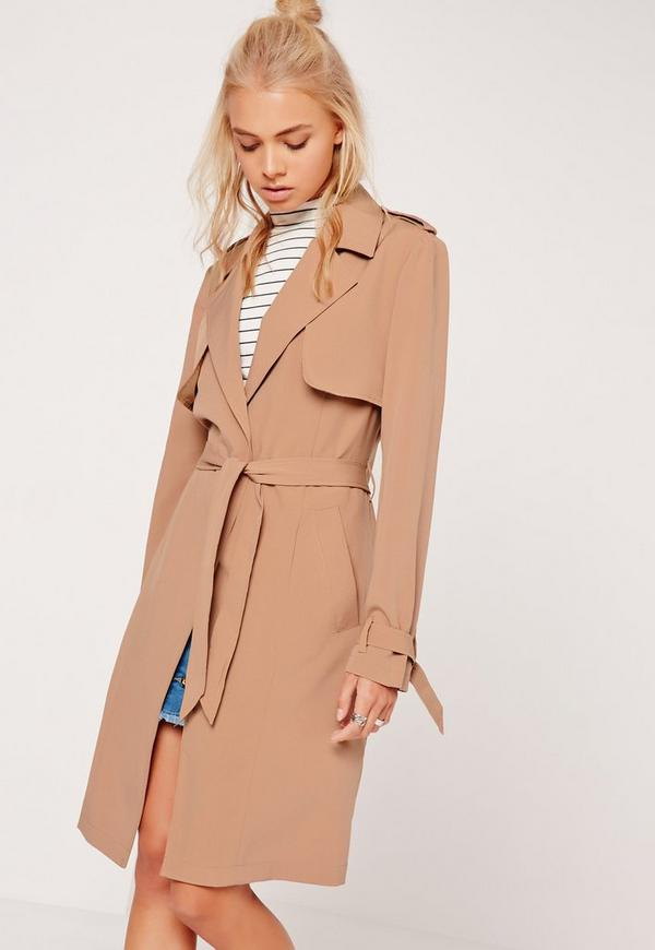 Long Sleeve Trench Coat Storm Back Tan