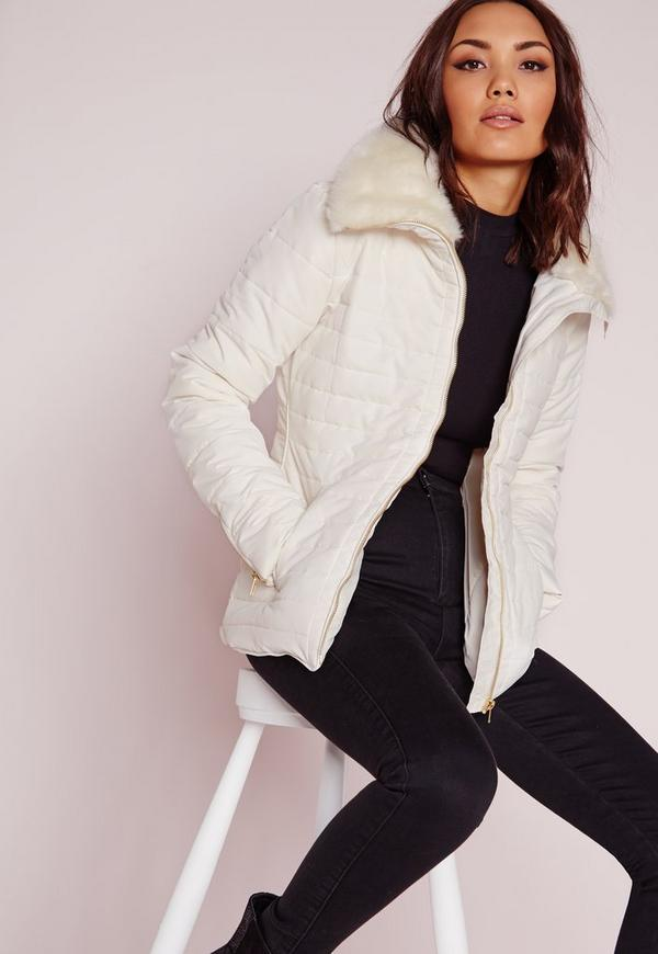 Padded Fur Collar Coat