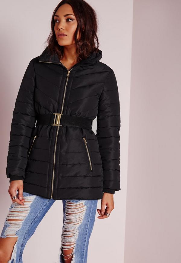 Longline Belted Padded Jacket Black