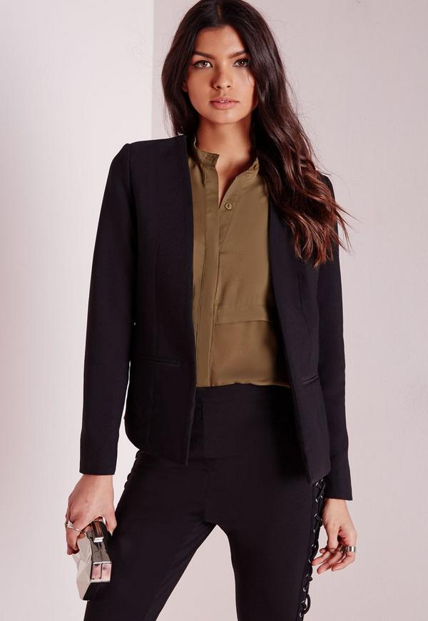 Collarless Blazer Black