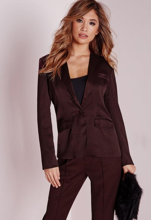 fitted blazer burgundy