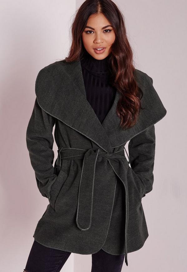 Waterfall Wool Coat Short Length Grey