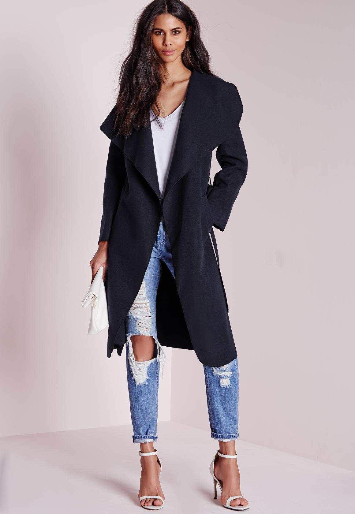 Waterfall Wool Coat Long Length Navy - Coats and Jackets ...