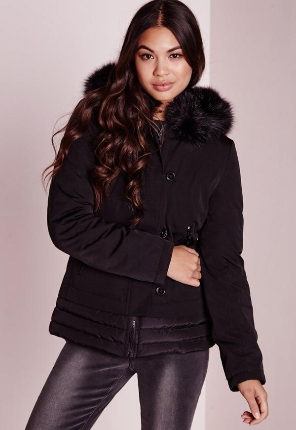 Padded Button Front Fur Hood Bomber Black