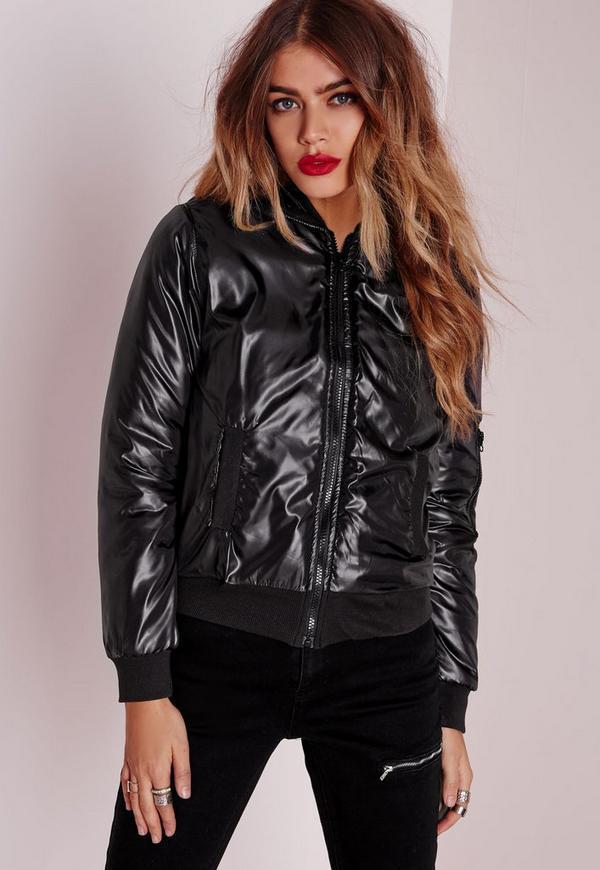 Wet Look Bomber Jacket Slim Fit Black