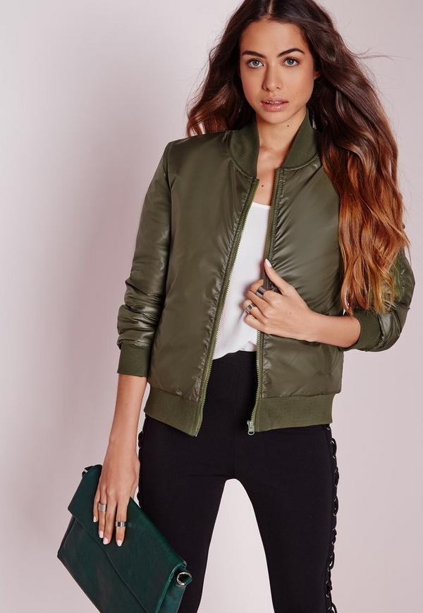 Wet Look Bomber Jacket Slim Fit Olive
