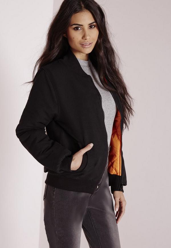 Nylon Slim Fit Bomber Jacket Black