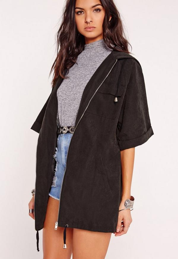 Cropped Utility Hooded Jacket Black