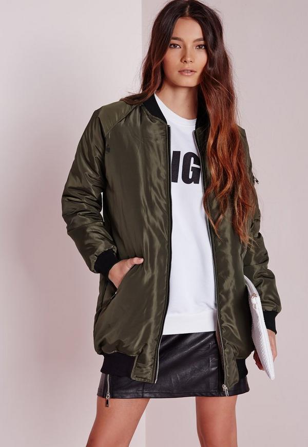 Longline Padded Bomber Jacket Khaki