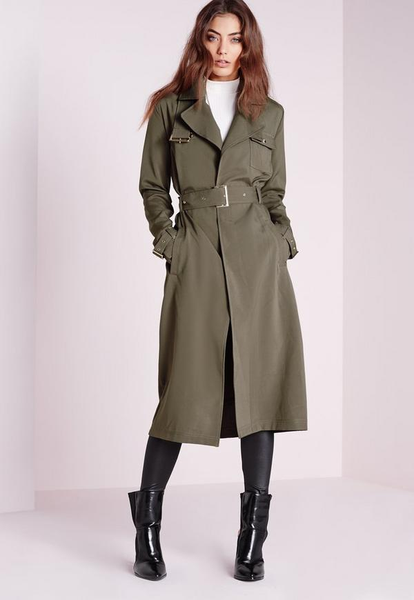 military trench coat khaki missguided. Black Bedroom Furniture Sets. Home Design Ideas