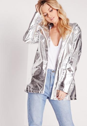 Metallic Rain Mac Silver Missguided