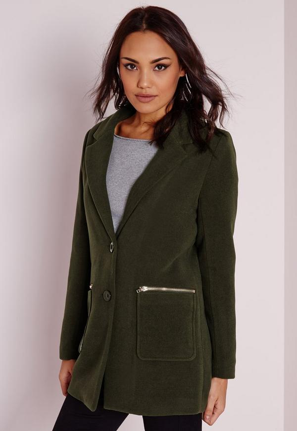 Short Faux Wool Zipped Coat Khaki