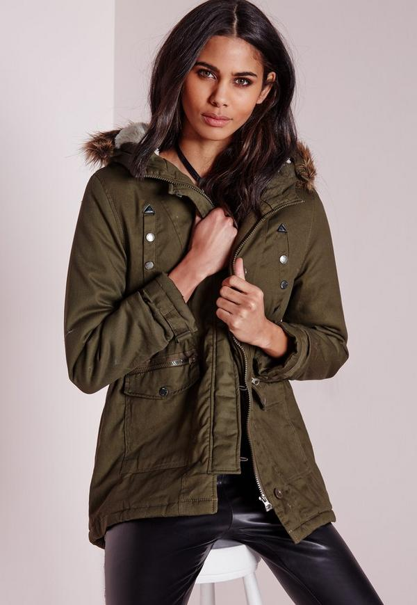 Canvas Parka Coat With Faux Fur Hood Khaki