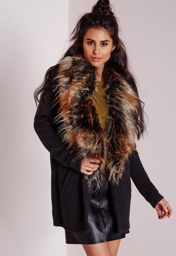 Multi Colour Fur Collar Textured Rib Coat Black