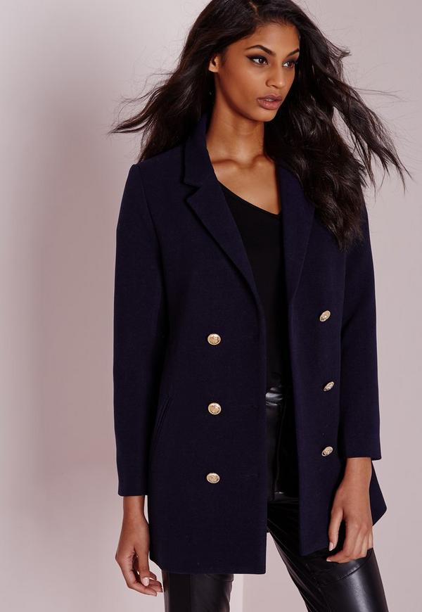 Military Faux Wool Coat Navy