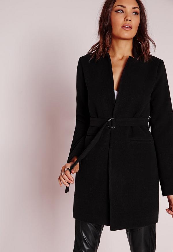 Angled Collar Coat Black