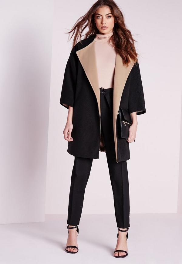 contrast blanket jacket black