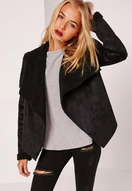 Faux Shearling Waterfall Jacket Black