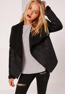 Black leather waterfall jacket