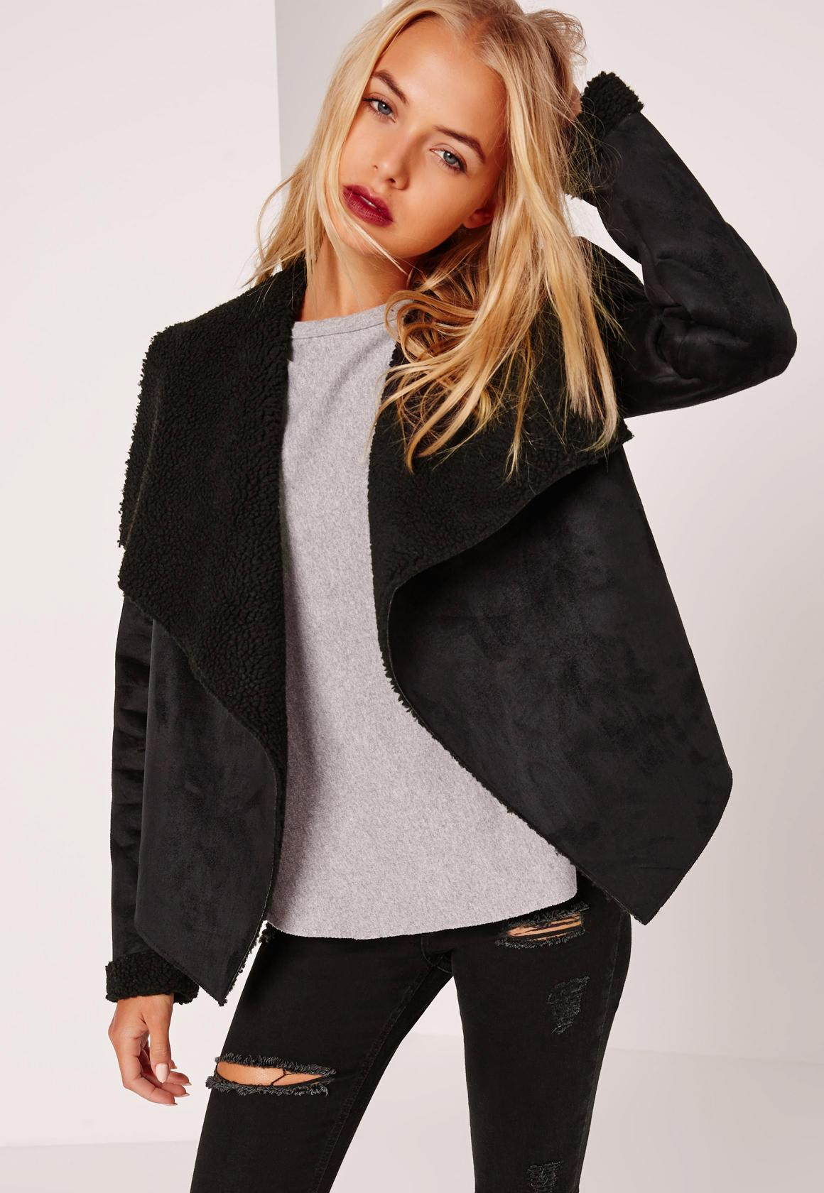 Faux Shearling Waterfall Jacket Black | Missguided