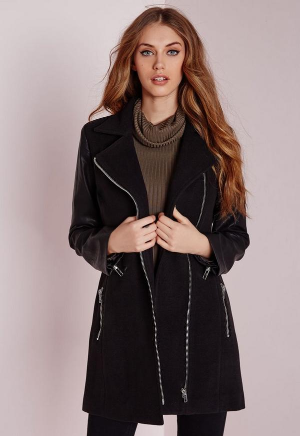 Faux Wool Biker with Faux Leather Sleeves