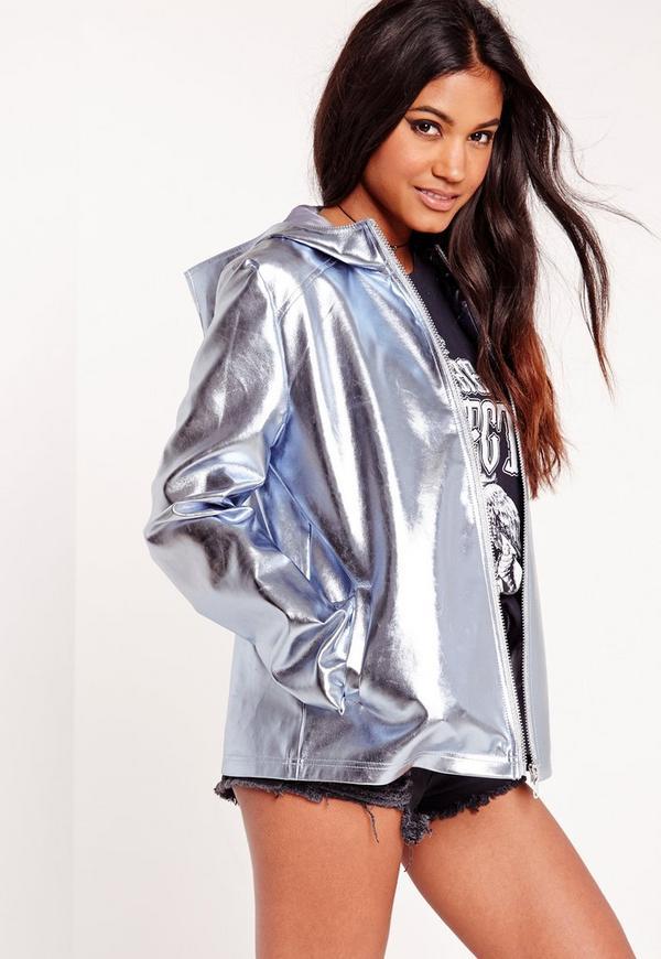 Blue Metallic Crop Hooded Jacket