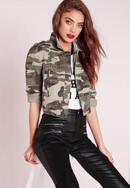 Cropped Camo Jacket Khaki