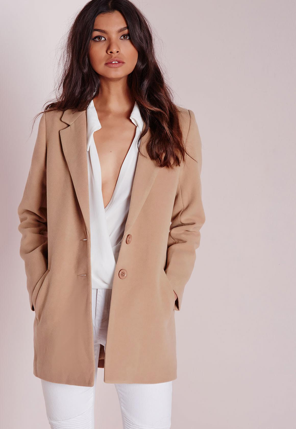 short faux wool coat camel | Missguided