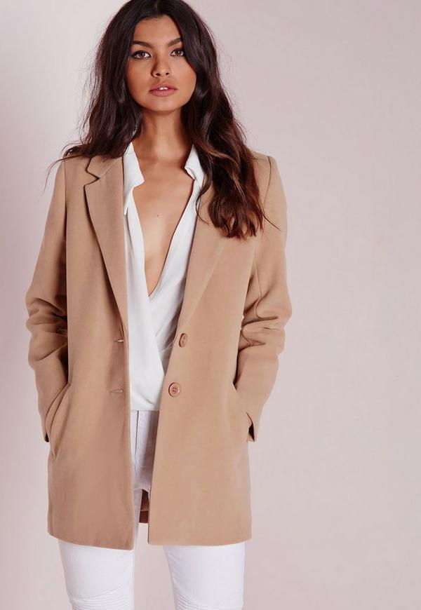 short faux wool coat camel