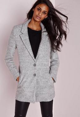 Short Wool Look Coat Grey
