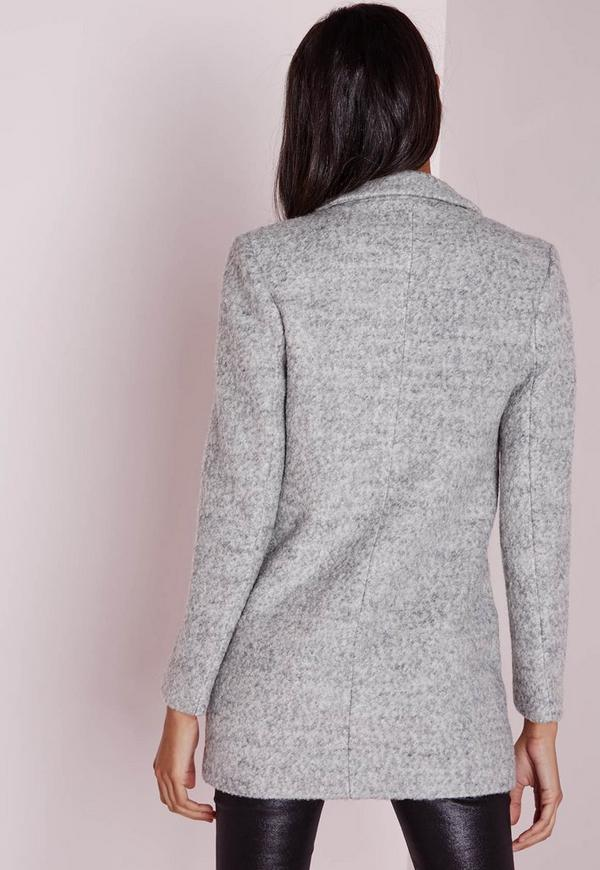Short Wool Look Coat Grey | Missguided