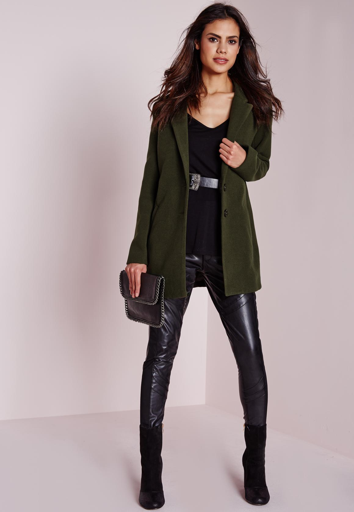 short faux wool coat khaki missguided #1: short faux wool coat khaki product page zoom 1x