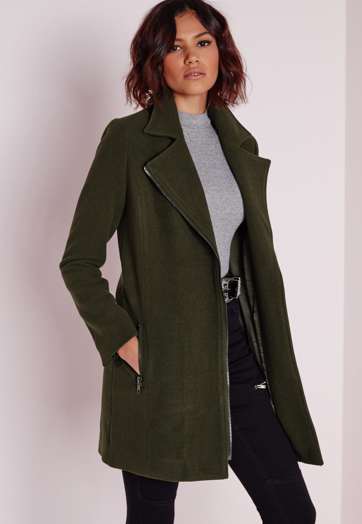 faux wool biker jacket khaki missguided #0: faux wool biker jacket khaki product page zoom 1x
