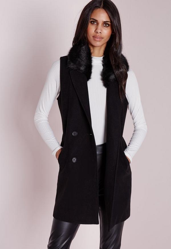 Wool Sleeveless Jacket Fur Collar Black