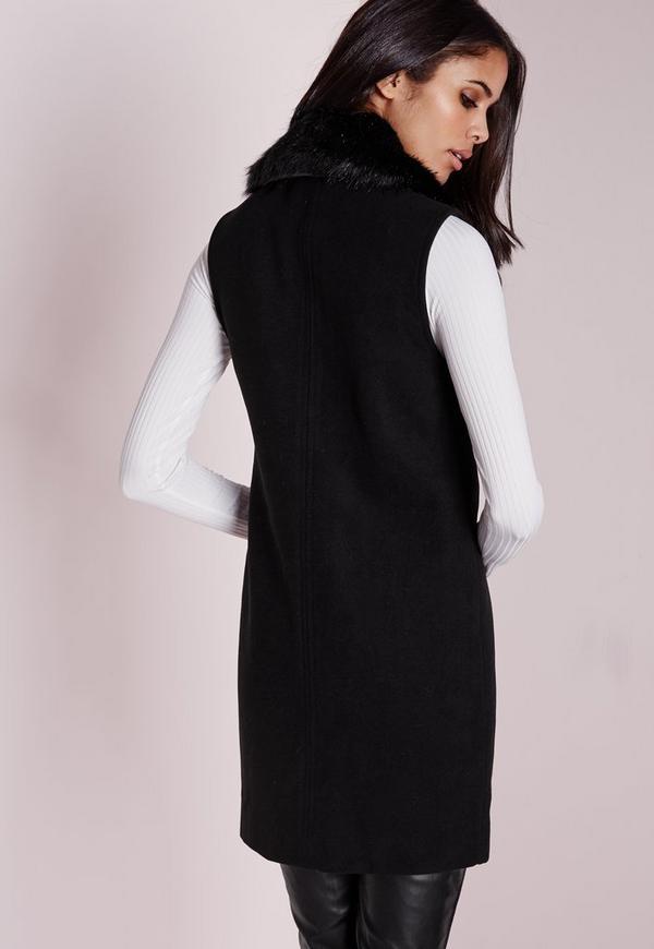 manteau sans manches en feutre crois noir missguided. Black Bedroom Furniture Sets. Home Design Ideas