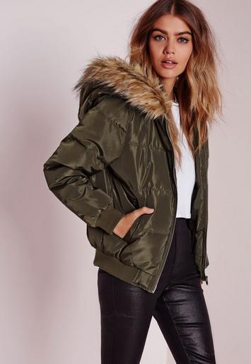 Padded Faux Fur Hood Jacket Khaki Missguided