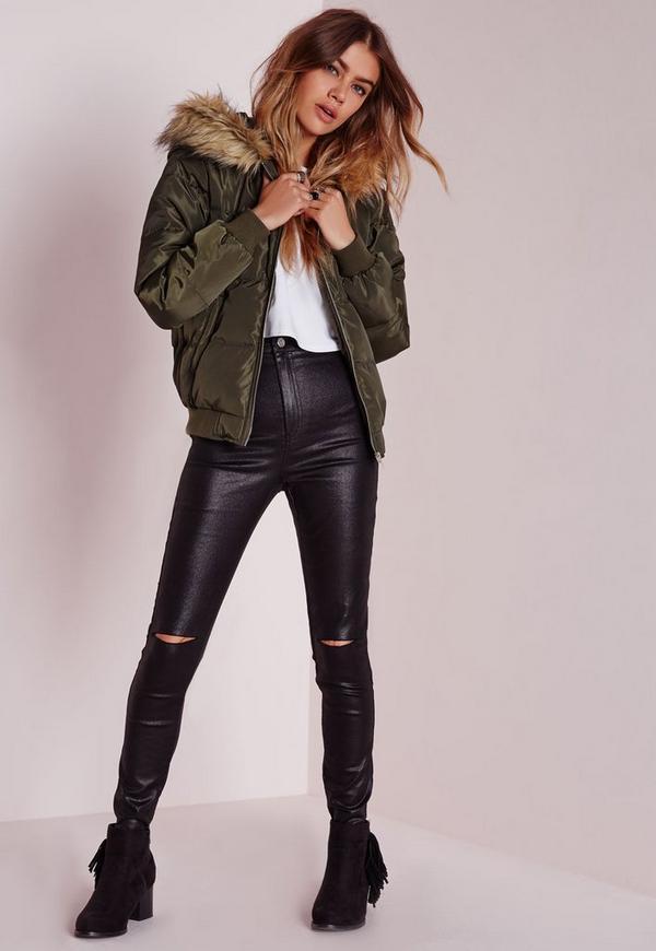 Padded Faux Fur Hood Jacket Khaki | Missguided