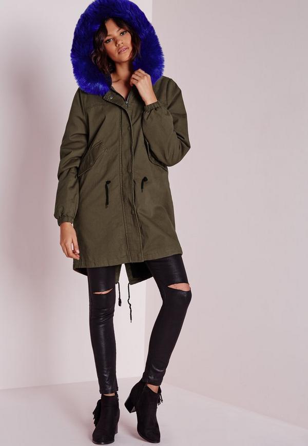 Cobalt Fur Parka Jacket Khaki