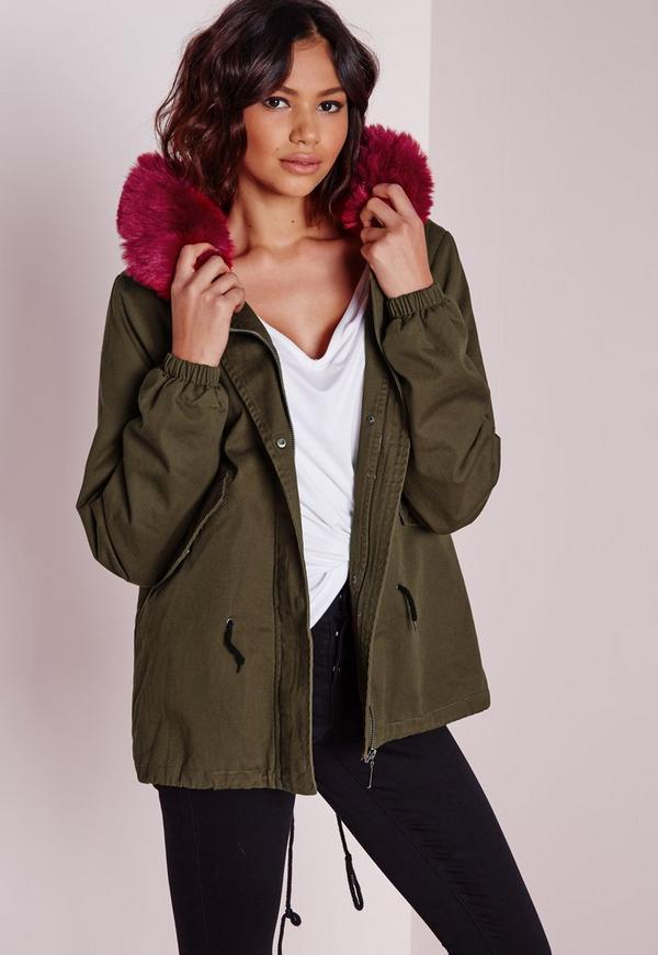 Burgundy Fur Parka Jacket Khaki
