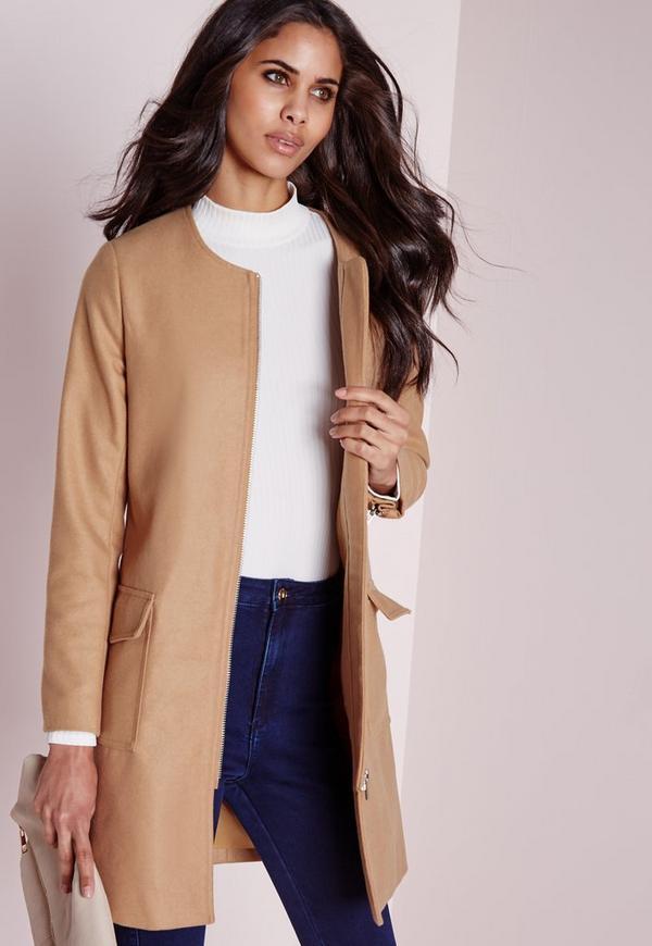 Collarless Zip Wool Jacket Camel