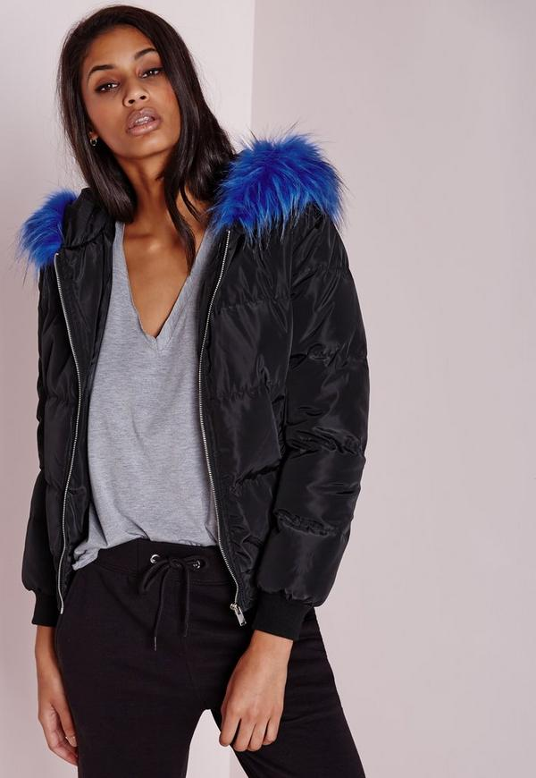 Padded Cobalt Fur Hood Jacket Black