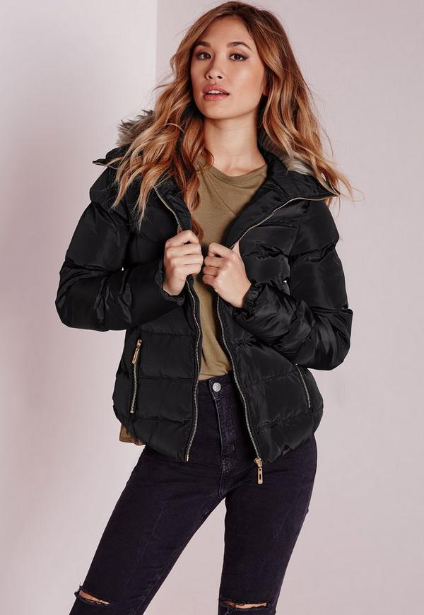 Padded Fur Trim Collar Jacket Black